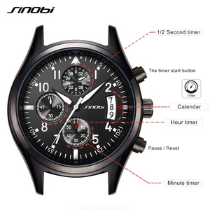 Image 5 - Sinobiクロノグラフメンズ腕時計防水のトップの高級ブランドステンレス鋼男性クォーツ時計レロジオmasculinoドロップシッピング