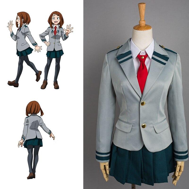 Anime Boku No Hero Academia Costume School Uniform Suit Cosplay OCHACO URARAKA My Hero Academia Costumes Halloween Party