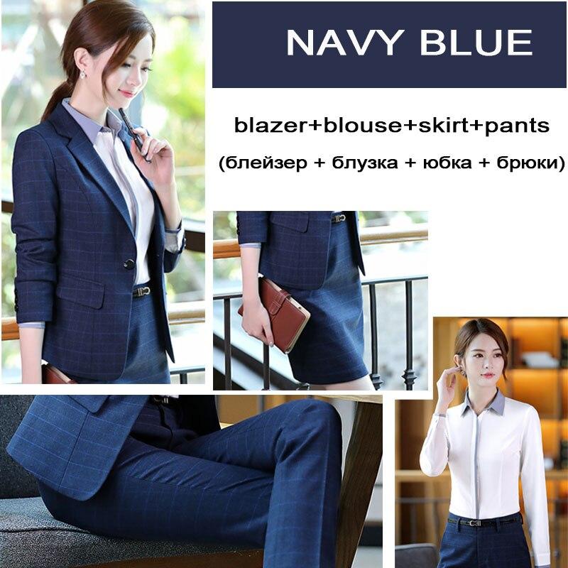Women blazer suits 2/3/4 piece cotton work wear top plus size business casual female sets office lady formal costume navy blue