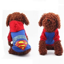 Cute Cool Superman pet Dog clothes Costume Apparel Clothing Pet Cat Puppy Hoodie Coat Jacket Clothes Dog Outfit Costume