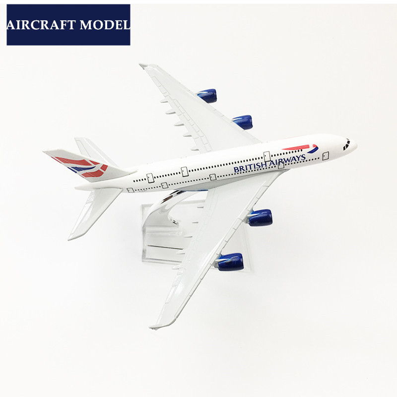 BRITISH AIRWAYS A380 Aircraft Model Plane 16cm Toy Alloy Metal Airlines Airplane with base support Collection Gift Toys image