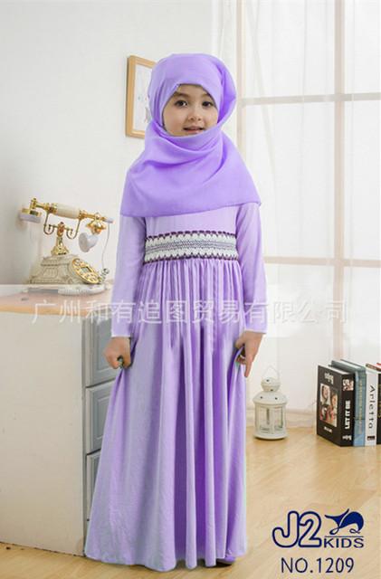 2016 jibabs abaya Musulmán ropa islámica para niños de Malasia de alta calidad caftán vestido de princesa de la muchacha