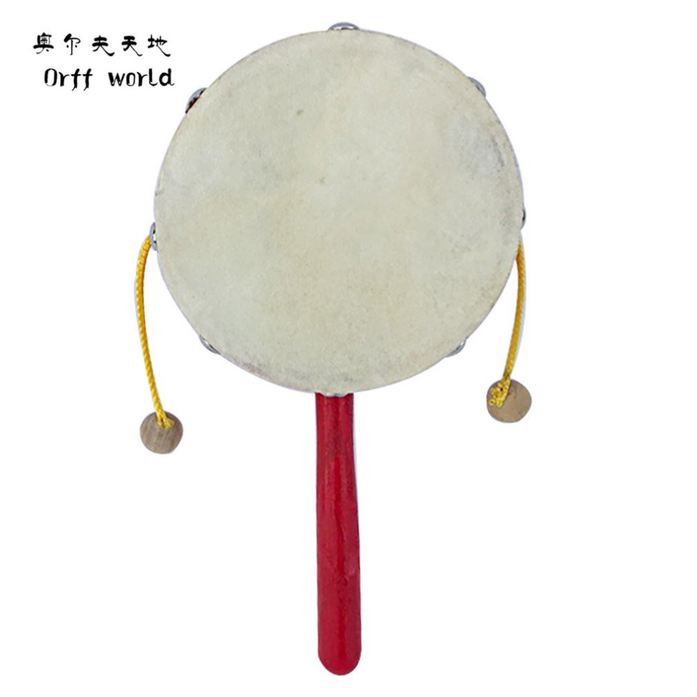 Orff world 1pc Rattles Develop Baby Intelligence Grasping Gums Drum Wooden Hand Bell Rattle Funny Educational Mobiles Toys