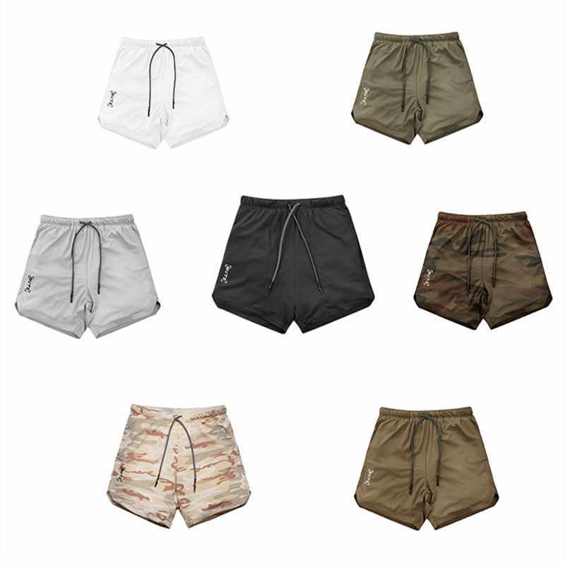 2019 Novo tamanho grande Double-Deck Homens Shorts Academias de Musculação Aptidão Respirável de Secagem Rápida Calções Corredores Homens Shorts de Corrida