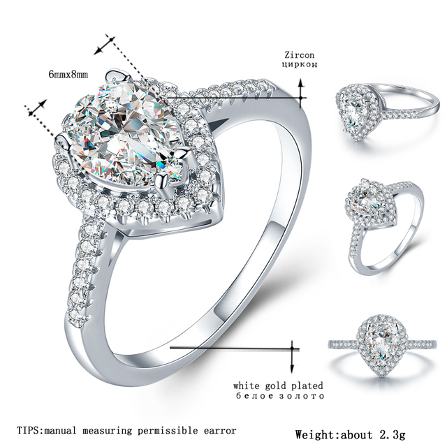 MDEAN White Gold Color Rings for Women Engagement Wedding Drop water clear AAA Zircon Jewelry Bague Bijoux Size 6 7 8 9 H536