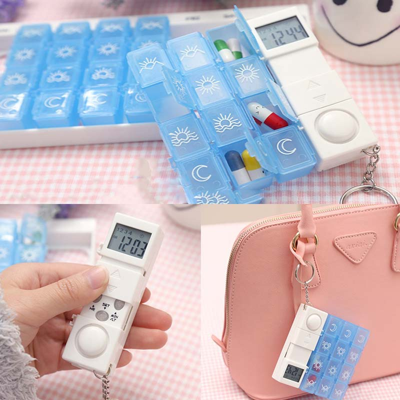 Portable Electronic Pill Cases Travel Old people Timing Reminder Alarm Medicine Storage Box 7 Days Weekly Drug Capsule Organizer