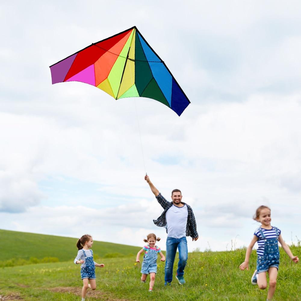 Nouveau jouet volant de plage coloré énorme Delta cerf-volant Sport de plein air ligne unique cerf-volant volant avec 30m ligne de vol pour enfants adultes