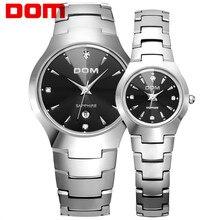DOM Любители часы вольфрама стали часы пару часов Роскошные модные деловые кварца водонепроницаемый горный хрусталь наручные часы