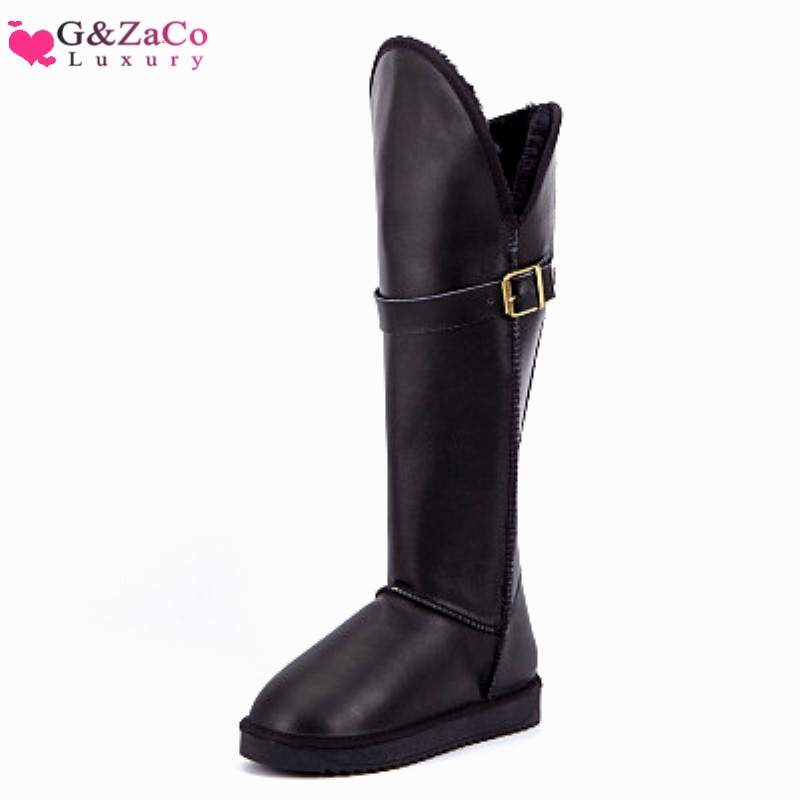 G Zaco Luxury New Winter Genuine Leather Cowhide Boots High Knee High Long Snow Boots Female