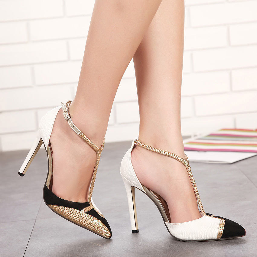 2019 Summer Women High Heels Sandals Pointed Toe Buck ...
