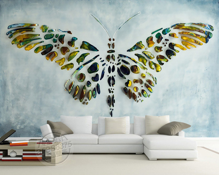 Personalized Custom Wall Murals 3D Butterfly Painting Wallpaper Photo  wallpaper Room decor Bedroom Wedding Home Interior Design-in Wallpapers  from Home ...