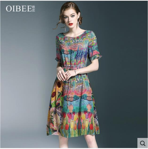 2018 summer new fashion printing small fresh medium long dress elegant look thin a line skirt