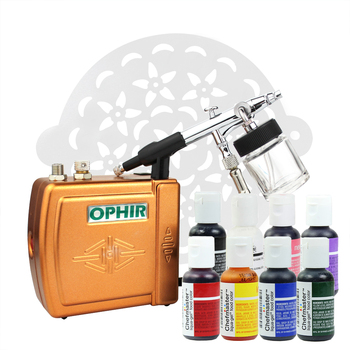 OPHIR Cake Airbrush Kit with Air Compressor Edible Pigment & Cake Stencils Airbrush for Cake Decorating Food Coloring OP-CA001