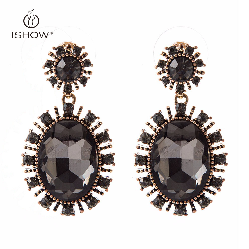 New Woman Wedding Bride Goldcolor Black Crystal Drop Earrings Round Floral  Dangle Earrings Fashion