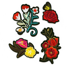 DOUBLEHEE In The Spring Health Flower Embroidered Iron On Patches For Clothing New Design Beauty Patch Sticker Badges diy
