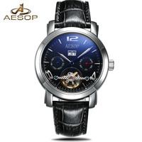 AESOP Men Mechanical Watch Business Skeleton Tourbillon Automatic Male Classic Leather Wrist Watches Clock Time Reloj Hombre