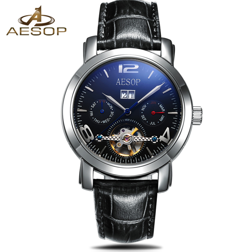 AESOP Men Mechanical Watch Business Skeleton Tourbillon Automatic Male Classic Leather Wrist Watches Clock Time Reloj Hombre business men mechanical wrist watches automatic self wind stainless steel power watch for male reloj hombre silver with gold