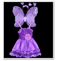 Mode Rose Jaune Violet Rouge Blanc Papillon carnaval costumes enfants Cosplay Costume Filles Enfants en Bas Âge Partie Robe