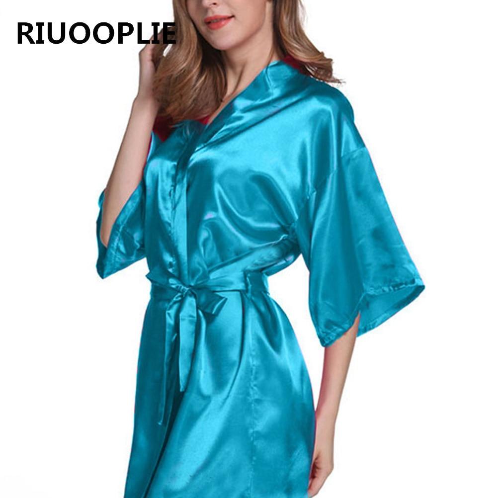RIUOOPLIE Women Silk Satin Long Wedding Bride Bridesmaid Robe Kimono Robe Feminino Bath Robe Large Peignoir Femme Sexy Bathrobe