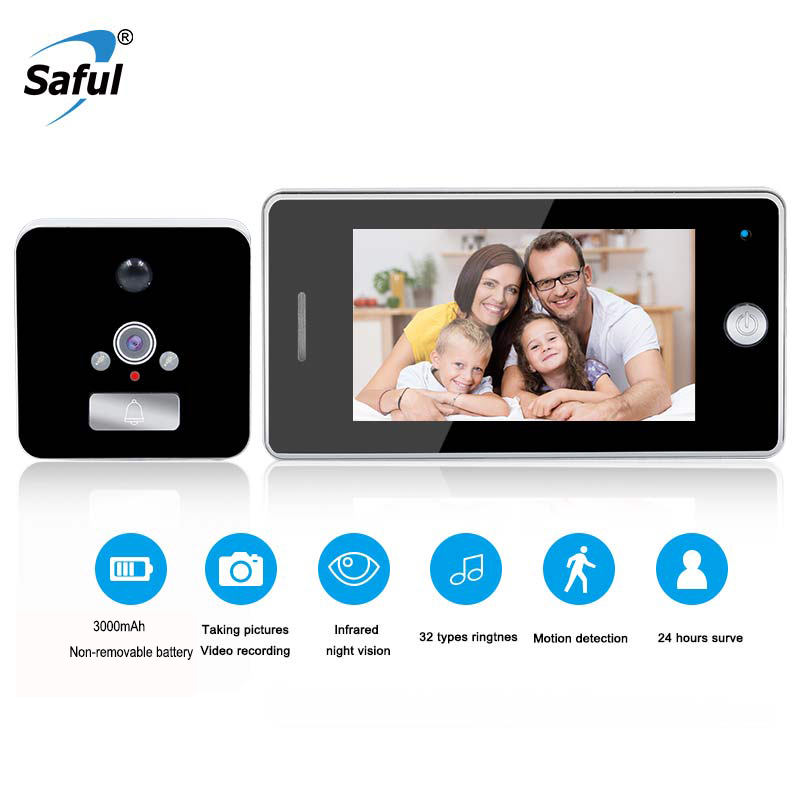 Saful 3000mAh Door Camera LCD Color Screen Door Peephole Viewer Video Recording Motion Detect Doorbell Camera
