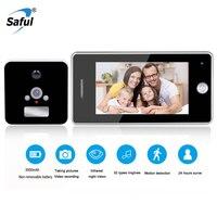 Saful 3000mAh Door Camera LCD Color Screen Door Peephole Viewer Video Recording Motion Detect Doorbell Camera Video eye