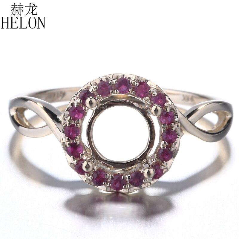 HELON Solid 14 K żółte złoto prawdziwej rubiny Semi Mount pierścionek zaręczynowy ślub pierścień 6.5mm do 7mm okrągły ustawienie dla kobiet w porządku biżuteria w Pierścionki od Biżuteria i akcesoria na  Grupa 1