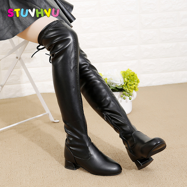 3de855c5156 Girls over knee boots elastic slim long boots for girls black leather  princess boots fashion children winter students high heels