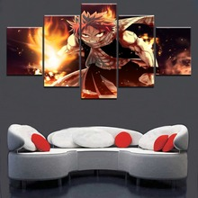Paintings on Canvas Wall Art Fairy Tail Natsu Anime 5 Pieces Home Decor For Living Room