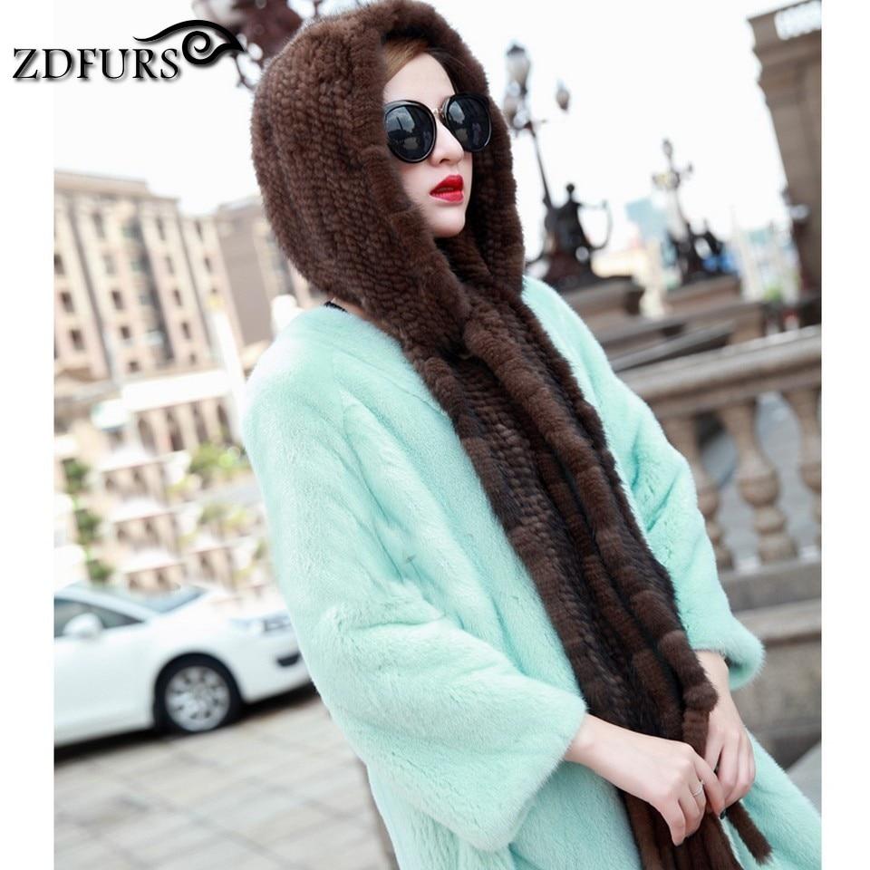 ZDFURS * Winter thermal mink fur hat scarf Women mink cap knitted hat scarf one piece warm Muffler for women ZDH 161006