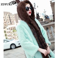 ZDFURS * Winter thermal mink fur hat scarf Women mink cap knitted hat scarf one piece warm Muffler for women ZDH 161006