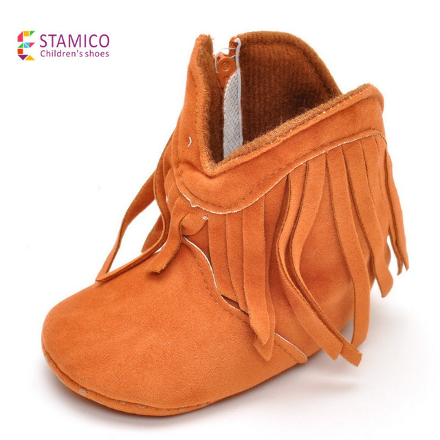 The new winter Infant Baby girl Soft Sole flock pure color First Walkers Shoes 0-18 Months tassel Baby cotton boots