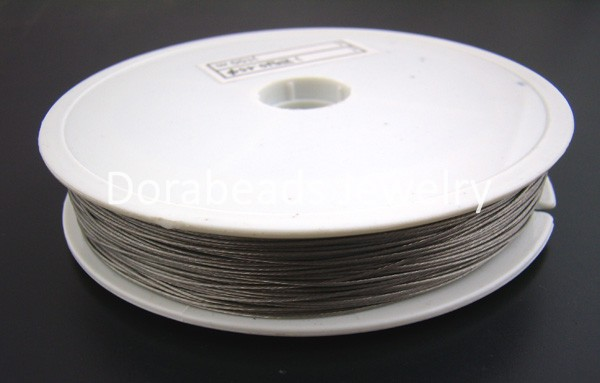 Doreen Box Lovely 1Roll 30M Silver Tone Beading Wire tiger tail 0.6MM (B01399) цена и фото