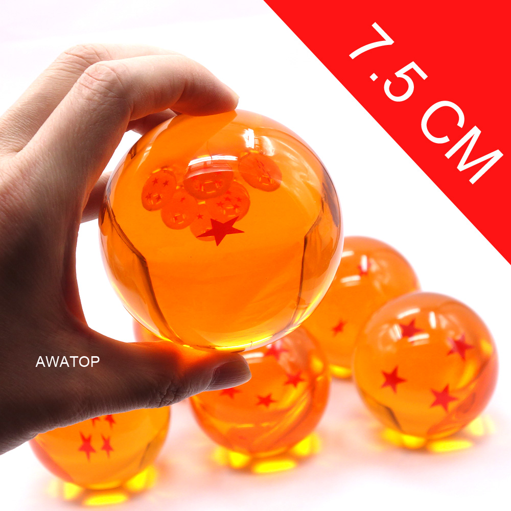 7.5CM 7cm Big Size 1 2 3 4 5 6 7 Star Dragonball Dragon Ball Crystal Balls Goku Z Action Figures Toys For Chlidren New In Box