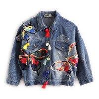 2016 women jeans denim jackets coat Butterfly embroidery leisure coat print all match jeans jacket women outerwear coat