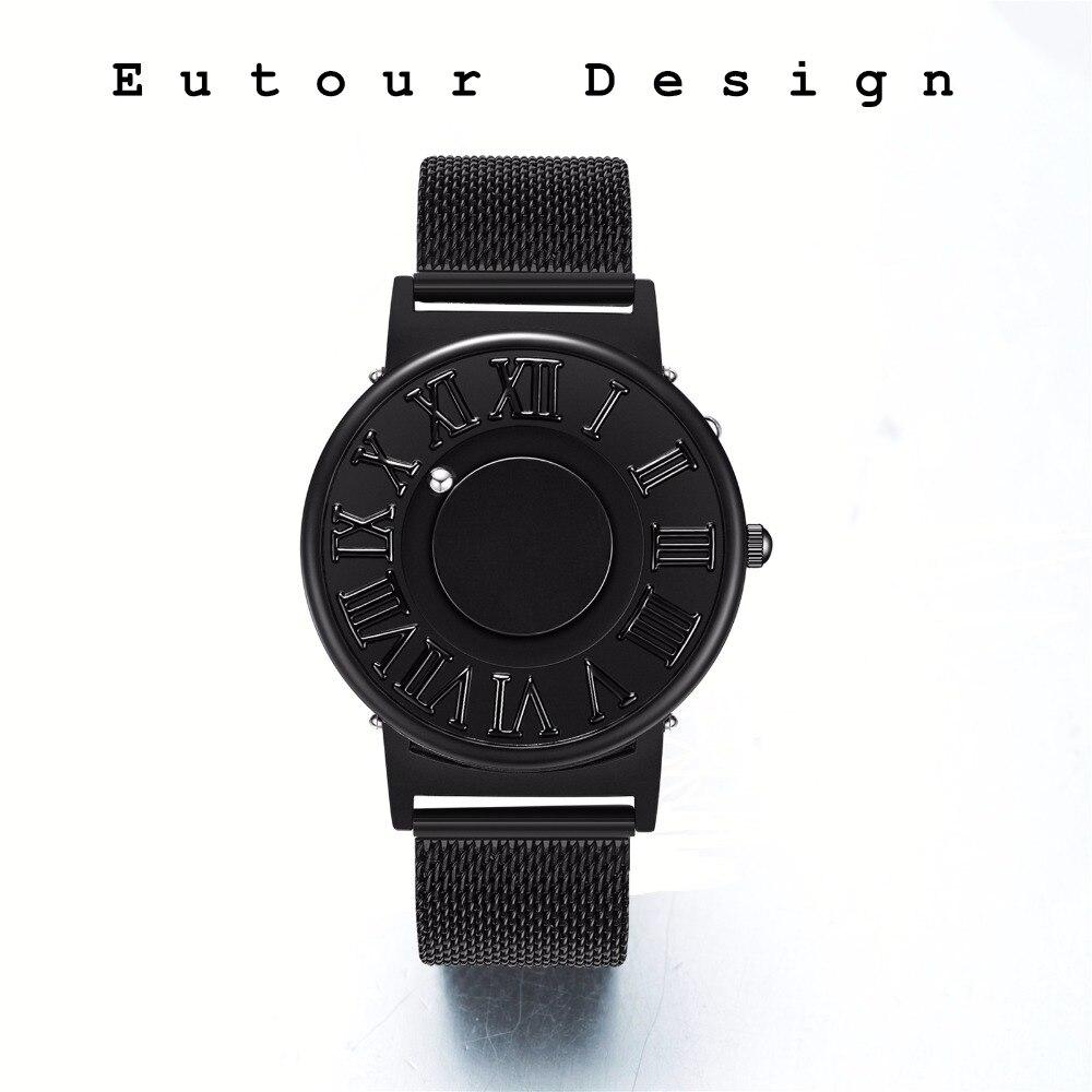 Eutour Creative Magnet Ball Watch Minimalist Casual Boy Man Fashion Roman Number Cartoon Stainless Steel Mesh Band Gift Box