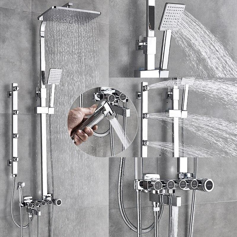 Quyanre роскошный хромированный черный смеситель для душа латунный Смеситель кран с Биде опрыскиватель боковой спа струй душ Поворотный ванна...