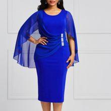 f313791a4 Talla grande azul vestido de mujer otoño 2018 bodycon manga de murciélago  lápiz vestido de gran tamaño sexy verano elegante vest.