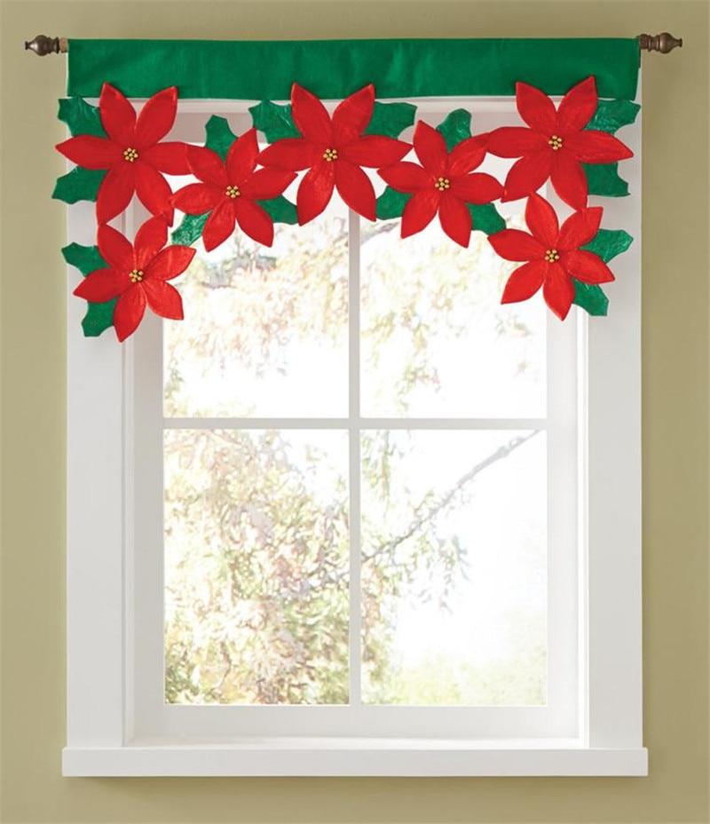 92x46cm christmas door window drape panel red green xmas - Cortinas de papel para navidad ...