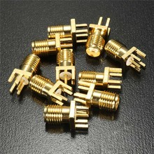 цена на 10Pcs 1.6mm SMA Female Jack Solder Nut Edge PCB Clip Straight Mount Gold Plated RF Connector Receptacle Solder