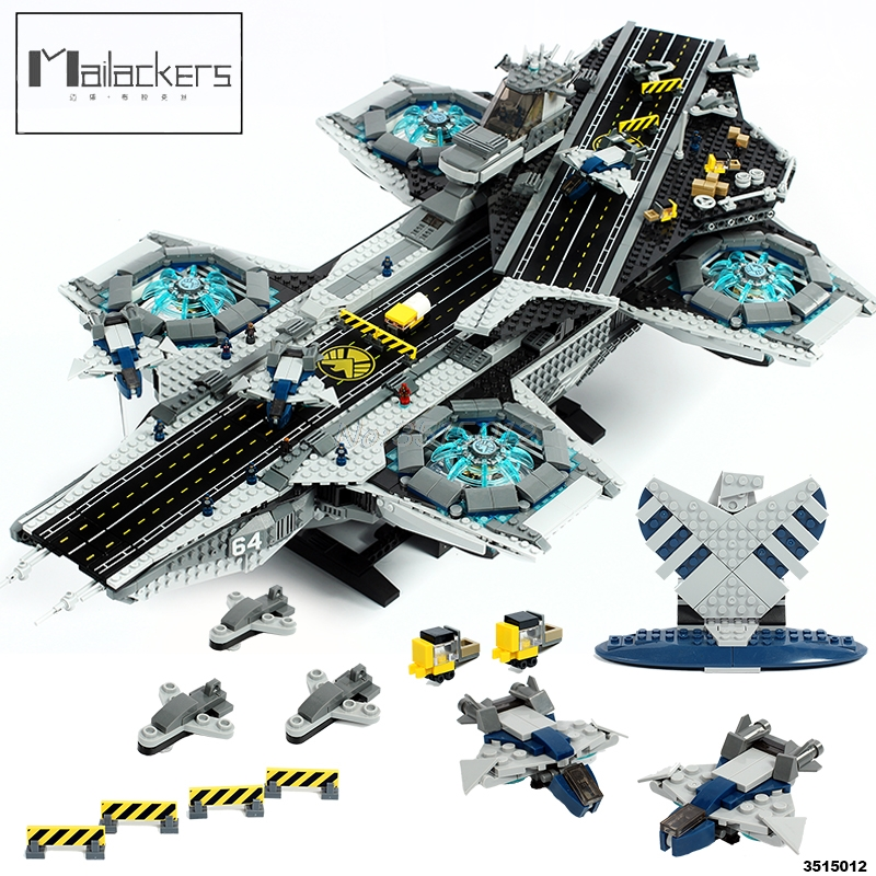 Mailackers Marvel Super Heroes The Shield Helicarrier Avengers Hulk Nick Fury Building Blocks Educational Toys For
