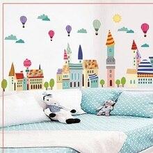 Colorful City Wall Sticker For Kids Bedroom Cartoon Plane Diy Window Decor Poster Home Decorative Scene Mural Art Wallpapaer