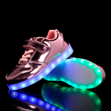 2019 Led Shoes for kids USB charge Light Up Sneakers boys mirror leather toddler girls Glowing Fashion Party 23-37
