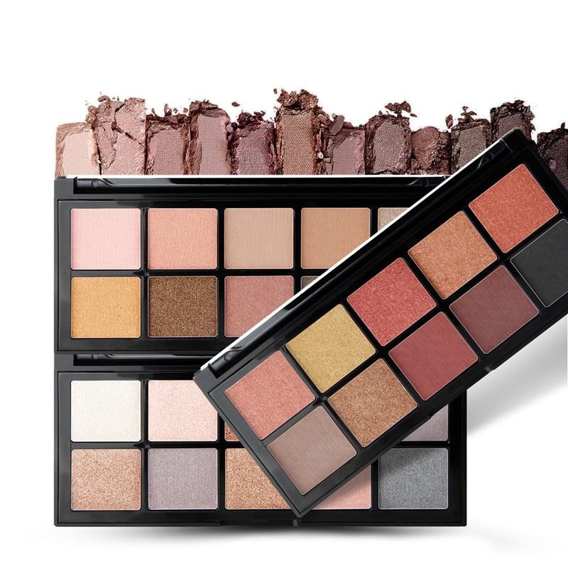 Qibest 10 Colors Eyeshadow Palette Matte Shimmer Nude Eye Cosmetics Waterproof Long Lasting Make Up Glitter Pallet Powder Kit