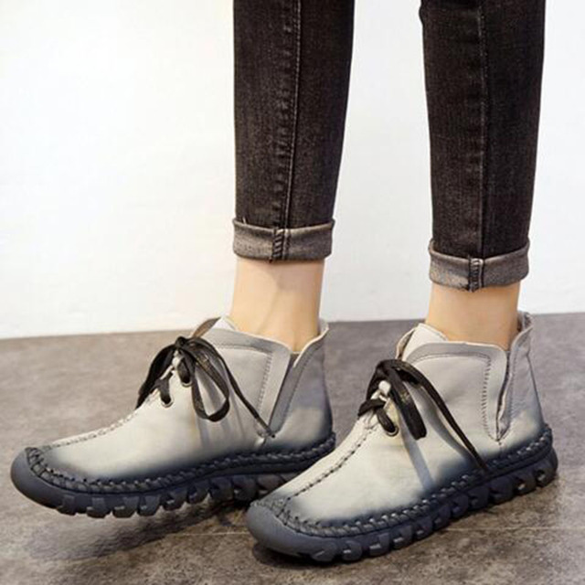 women boots 2017 New Leather Winter Boots Handmade lace-up Woman Shoes Casual Full Grain Leather Ankle Boots For Women