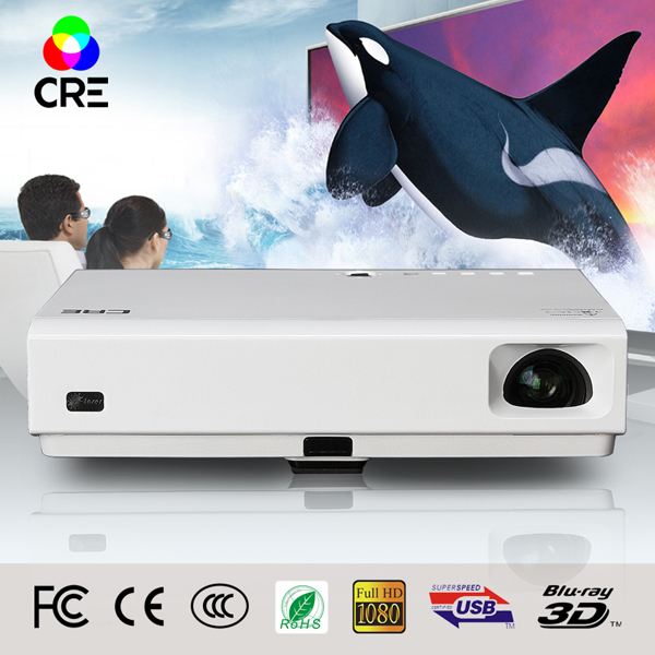 2016 CRE X3001 Full HD portable DLP mini projector 3D proyector led tv beamer Build in