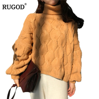 RUGOD Women Sweaters And Pullovers Autumn Winter Batwing Sleeve Turtleneck Pullover Women Casual Solid Loose Knitted