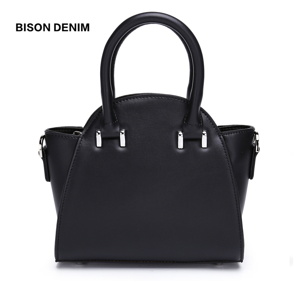 BISON DENIM Cowskin Leather Women Bag High Quality Shoulder Bag Female Leather Casual Handbag Crossbody Bag