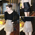 Women Winter and Autumn High - waist Mini Oversized  PU Leather Skirt With Belt