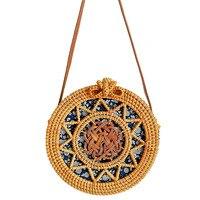 Women Handwoven Rattan Round Bag Shoulder Leather Straps For Outdoor Leisure Bag Color: Sun Flower
