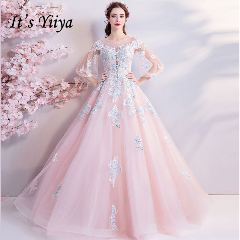 It's YiiYa Pink Evening Dresses O-neck Illusion Three Quarter Sleeves Embroidery Bling Floral Floor-length Party Ball Gown LX800